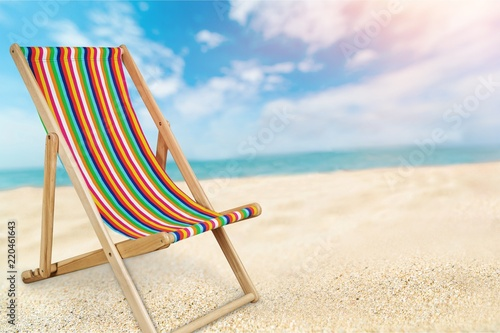 Photo Deckchair isolated on a white background