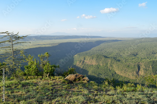 Foto op Plexiglas Khaki A panoramic view of the volcanic crater on Mount Suswa, Kenya