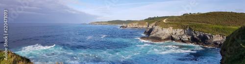 Panoramic view of the Cantabrian coast near Frejulfe beach in Puerto de Vega - Asturias, Spain