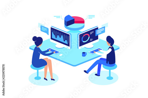Fotografía  Colleagues working in workplace, isometric style, vector illustration