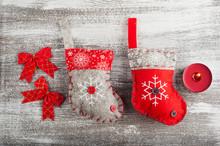 Santa Socks, Red Bows
