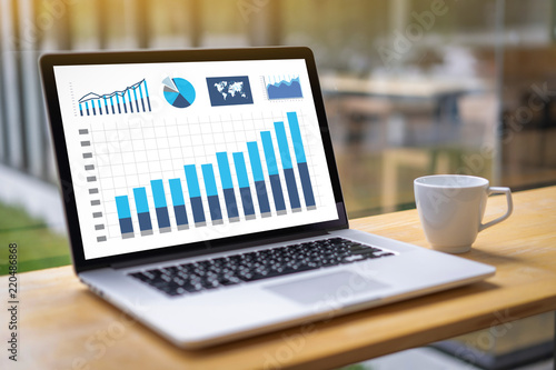 Fotografie, Obraz  man business analytics and financial Business finances and accounting concept