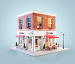 canvas print picture - Unusual 3d illustration of a cozy cafe