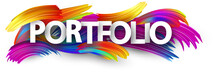 Portfolio Paper Banner With Colorful Brush Strokes.