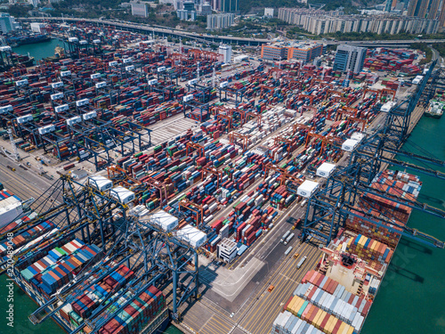 Foto op Canvas Poort Drone fly over container terminal port in Hong Kong
