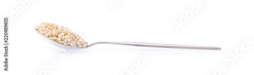Fényképezés spoon of Barley rice isolated on white background