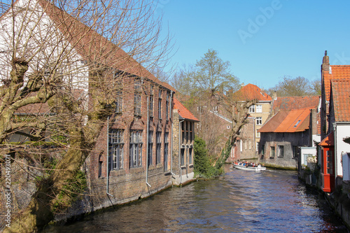 Wall Murals Bridges Minnewaterpark, Brügge, Brugge, Boat, Canal
