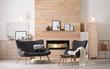 Leinwandbild Motiv Cozy living room interior with comfortable furniture and decorative fireplace