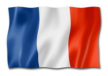 French Flag Isolated On White