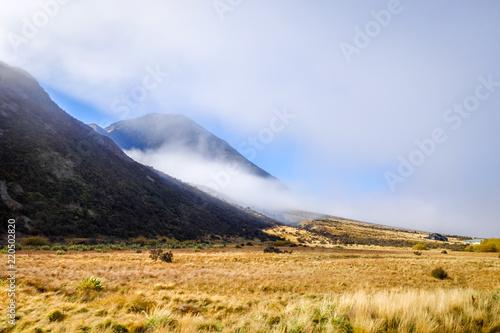 Spoed Foto op Canvas Oceanië Mountain fields landscape in New Zealand