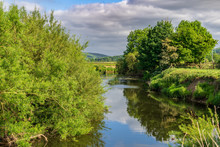 Landscape Near Skipton, With The River Aire, North Yorkshire, England, UK