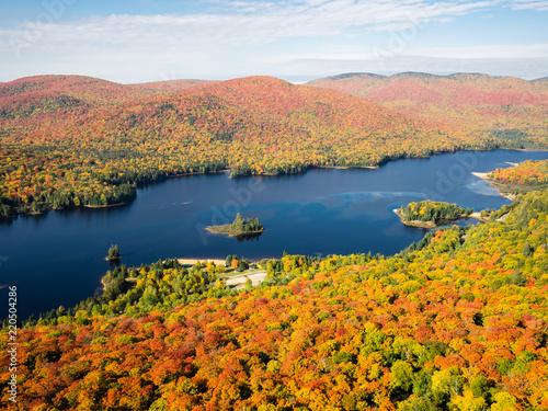"""Naklejka premium To jest zdjęcie jesiennych liści widzianych z Parku Narodowego """"Mont-Tremblant"""" na płaskowyżu Laurentian w Quebecu w Kanadzie. To jest zdjęcie zrobione ze stanowiska obserwacyjnego trasy nr 3"""