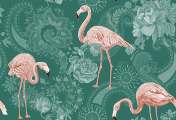 Fototapeta Do sypialni Flamingo on a colorful background. Seamless pattern with flamingos and tropical plants. Colorful pattern for textile, cover, wrapping paper, web