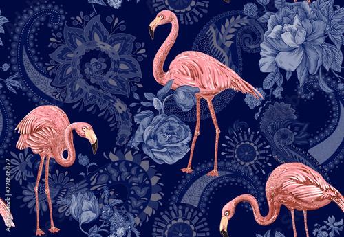 Fotografie, Obraz  Flamingo on a colorful background