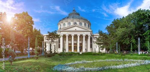 Spoed Foto op Canvas Theater Panorama of The Romanian Athenaeum George Enescu (Ateneul Roman) in Bucharest, Romania. Most prestigious concert hall and one of the most beautiful buildings in the city. the famous landmark