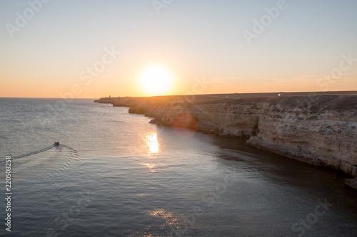 Crimean Peninsula-Cape Tarkhankut summer is pure Black sea rocky beach in Sunny Wallpaper Mural