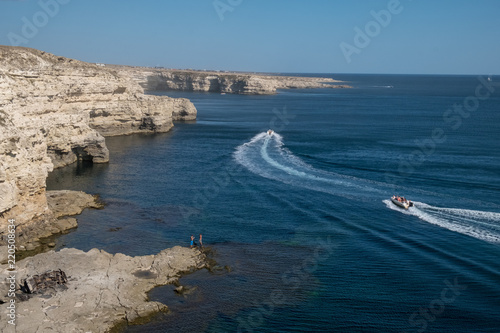 The Crimean Peninsula-Cape Tarkhankut summer is pure Black sea, rocky coast Wallpaper Mural