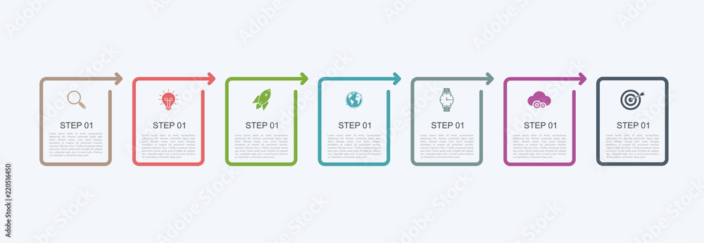 Fototapeta Timeline infographic design template with step structure. Business concept with 7 options pieces or steps. Block diagram, information graph, presentations banner, workflow.