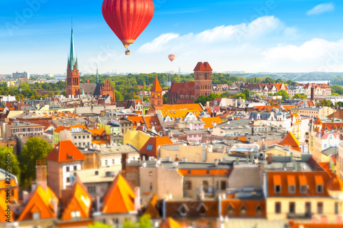 Aerial panoramic view of historical buildings and roofs in Polish medieval town Fototapeta