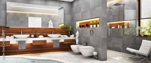 Obraz Modern gray bathroom - fototapety do salonu