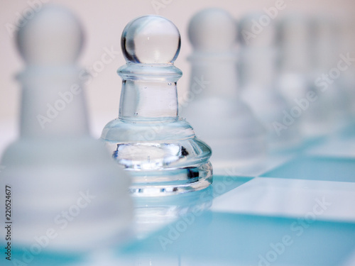 Fotografie, Obraz  Glass Pawn Chess Piece, Selective Focus