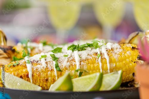 Vászonkép  Grilling mexican street corn