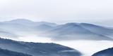 Niebieskie stonowane szczyty górskie w oddali, piękny panoramiczny widok na wzgórza. Lokalizacja - Narodowy Karpacki Park Biosferyczny na Ukrainie. Drobne tło. Spektakularna fotografia krajobrazowa. - 220527447