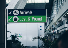 Sign Post In The Airport. Sele...