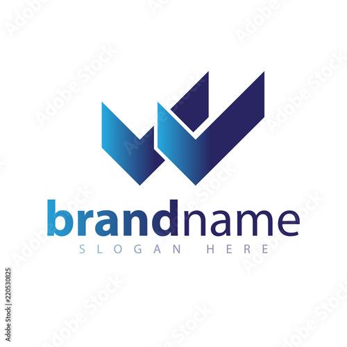 Fotografía  double check logo icon vector template