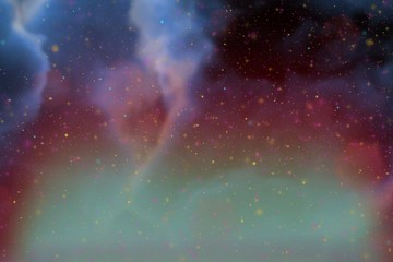 Abstract dynamic fantasy blue space and stars colorful background with sparks and clouds