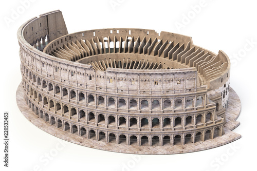 Coliseum, Colosseum isolated on white Canvas Print