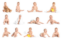 Set With Cute Baby On White Ba...