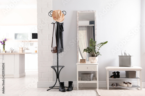 Canvas Stylish hallway interior with large mirror