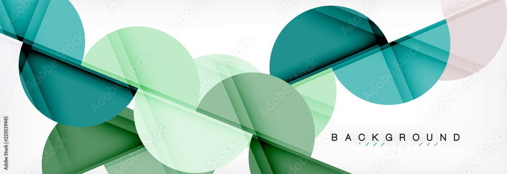 Fototapeta Modern geometrical abstract background - circles. Business or technology presentation design template, brochure or flyer pattern, or geometric web banner