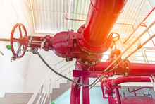 Close Up Of Red Pipe Of Fire Pump System