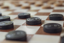 This Is A Wooden Checkers Board With Black And White Pawns Game Setup Ready To Play A