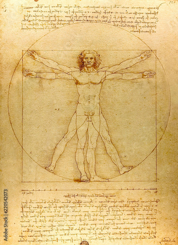 Fototapeta Vitruvian man.  Drawing of Leonardo da Vinci