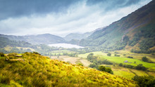 Landscape Of Snowdonia  National Park With A View On Gwynant Lake On A Rainy And Foggy Day In Wales, UK