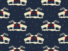 Seamless Winter Pattern Deers And Snow. Design Vector Background. Perfect For Wallpapers, Pattern Fills, Web Page Backgrounds, Surface Textures, Textile. Happy New Year, Greeting Card. Winter Time