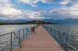 View of the floating bridge in the Mikri (Small) Prespa Lake in northern Greece