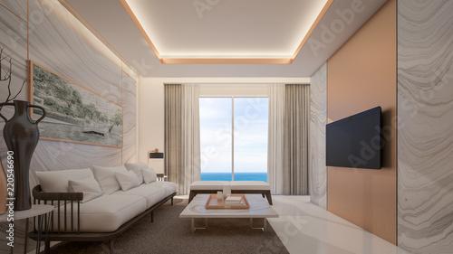 Luxury living room in suite room with sea view , 3d rendering
