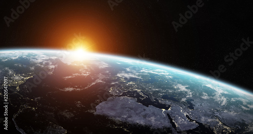 View of blue planet Earth in space 3D rendering elements of this image furnished by NASA