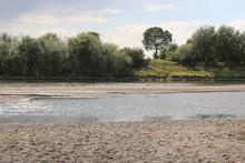 An Der Weser Bei Sehr Niedrigem Wasserstand Nach Bei Dürre