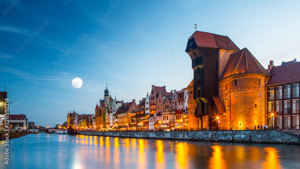 Fototapety, obrazy: Harbor at Motlawa river with old town of Gdansk in Poland