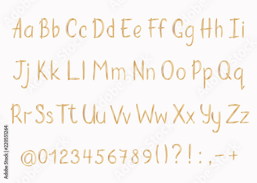 Golden alphabet in sketchy style  Vector handwritten pencil letters