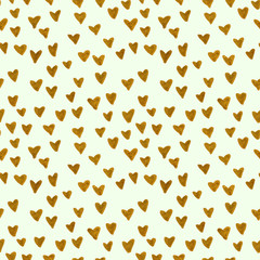 Hand Drawn golden hearts. Seamless mint pattern with gold hearts. Valentine's...