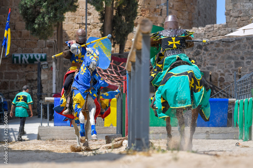 Staande foto Kinderkamer Knights fights in the old crusader fortress in old Acre