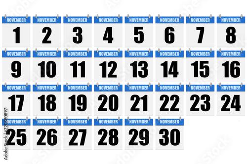Calendario Vector.Calendario Azul De Noviembre Buy This Stock Vector And Explore