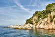 Landscape of Rocks on the coast of Lloret de Mar Tossa de Mar in a beautiful summer day, Costa Brava, Catalonia, Spain