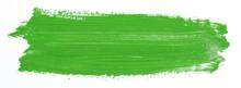 Green Brush Stroke Isolated Over White Background